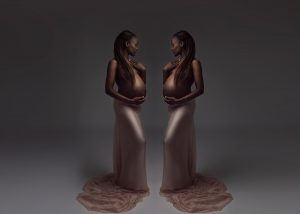 mirror image maternity portrait