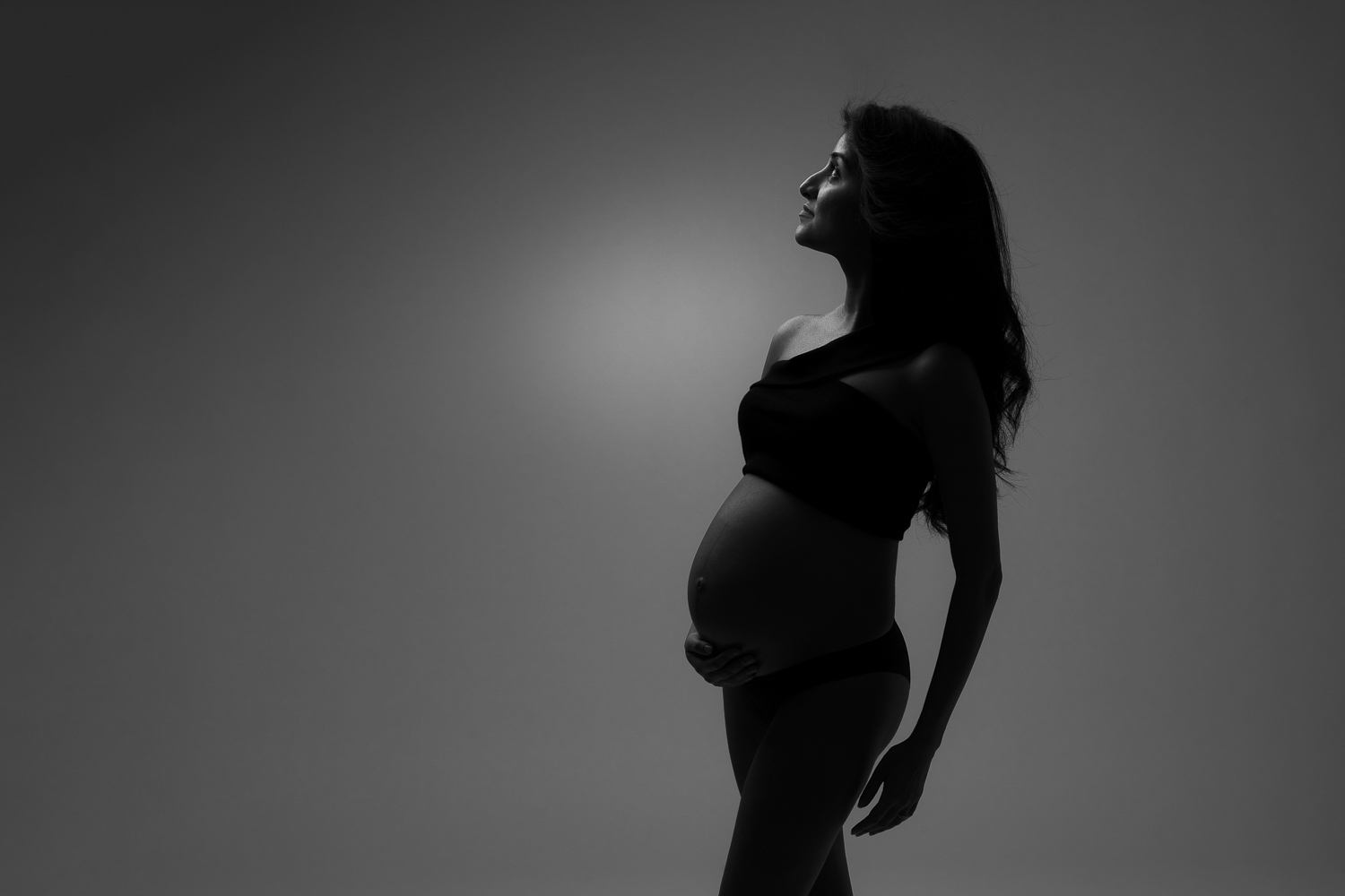 tasteful black and white maternity portrait