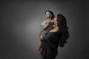 maternity portrait with older child