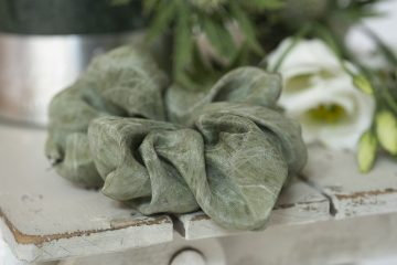 Soft Green silk scrunchie