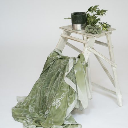 Olive Green/Ecru Cow Parsley silk scarves