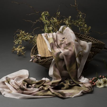 Bellflower pink and olive silk scarves