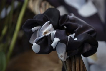 Deep purple silk scrunchie