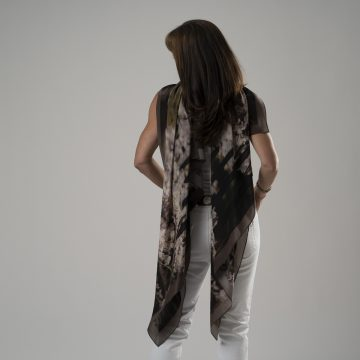 Wisteria Deep Brown and soft pink silk scarves