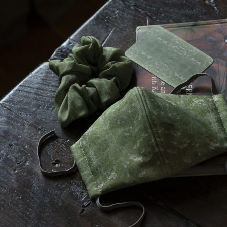 Cow Parsley Green silk scrunchies and facemask